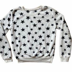 Women's Star Print White Black Fleece Pullover XS